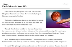 Print <i>Earth Science in Your Life</i> reading comprehension.