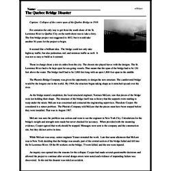 Print <i>The Quebec Bridge Disaster</i> reading comprehension.