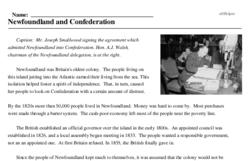 Print <i>Newfoundland and Confederation</i> reading comprehension.