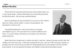 Print <i>Robert Borden</i> reading comprehension.