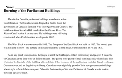 Print <i>Burning of the Parliament Buildings</i> reading comprehension.