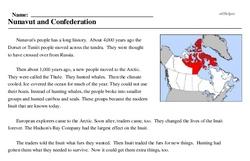 Print <i>Nunavut and Confederation</i> reading comprehension.