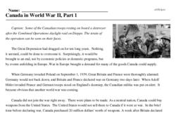 Print <i>Canada in World War II, Part 1</i> reading comprehension.
