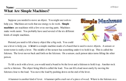 Print <i>What Are Simple Machines?</i> reading comprehension.