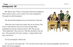 Print <i>Immigrants All</i> reading comprehension.