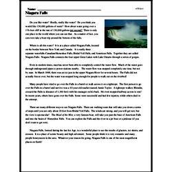 Print <i>Niagara Falls</i> reading comprehension.