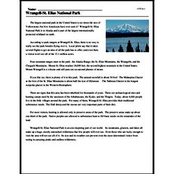 Print <i>Wrangell-St. Elias National Park</i> reading comprehension.