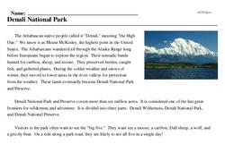 Print <i>Denali National Park</i> reading comprehension.