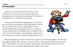 Print <i>Photographer</i> reading comprehension.