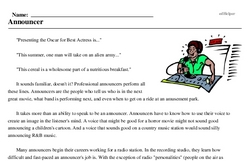 Print <i>Announcer</i> reading comprehension.