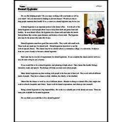 Print <i>Dental Hygienist</i> reading comprehension.