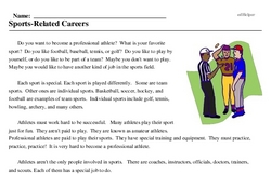 Print <i>Sports-Related Careers</i> reading comprehension.