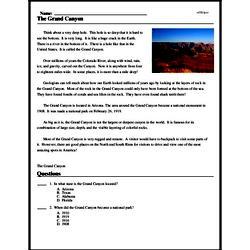Print <i>The Grand Canyon</i> reading comprehension.