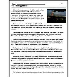 Print <i>The Mississippi River</i> reading comprehension.