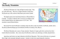 Print <i>The Rocky Mountains</i> reading comprehension.