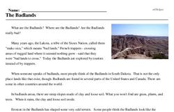 Print <i>The Badlands</i> reading comprehension.