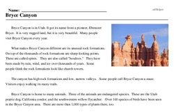 Print <i>Bryce Canyon</i> reading comprehension.