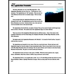 Print <i>The Appalachian Mountains</i> reading comprehension.