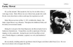 Print <i>Farley Mowat</i> reading comprehension.