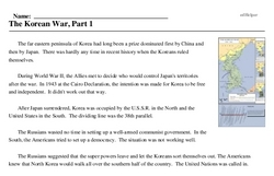 Print <i>The Korean War, Part 1</i> reading comprehension.