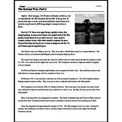 Print <i>The Korean War, Part 2</i> reading comprehension.