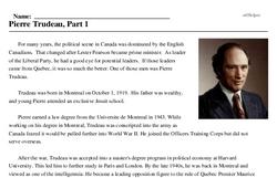 Print <i>Pierre Trudeau, Part 1</i> reading comprehension.