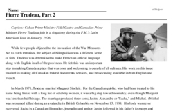Print <i>Pierre Trudeau, Part 2</i> reading comprehension.
