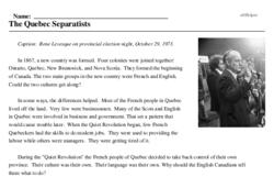 Print <i>The Quebec Separatists</i> reading comprehension.
