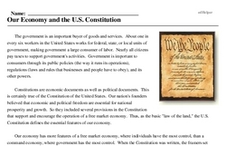 Print <i>Our Economy and the U.S. Constitution</i> reading comprehension.
