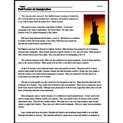 Print <i>Pull Factors in Immigration</i> reading comprehension.