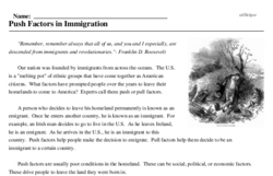 Print <i>Push Factors in Immigration</i> reading comprehension.