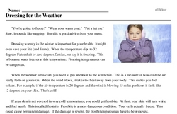 Print <i>Dressing for the Weather</i> reading comprehension.