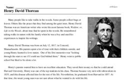 Print <i>Henry David Thoreau</i> reading comprehension.