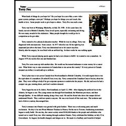 Print <i>Terry Fox</i> reading comprehension.