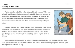 Print <i>Safety in the Lab</i> reading comprehension.