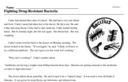 Print <i>Fighting Drug-Resistant Bacteria</i> reading comprehension.