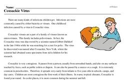 Print <i>Coxsackie Virus</i> reading comprehension.