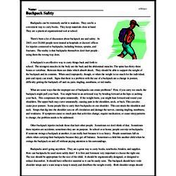 Print <i>Backpack Safety</i> reading comprehension.