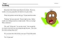 Print <i>Teething</i> reading comprehension.
