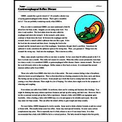 Print <i>Gastroesophageal Reflux Disease</i> reading comprehension.