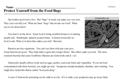 Print <i>Protect Yourself from the Food Bugs</i> reading comprehension.