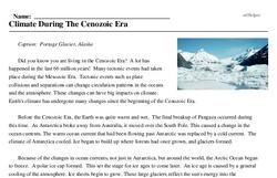 Print <i>Climate During The Cenozoic Era</i> reading comprehension.