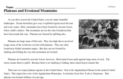 Print <i>Plateaus and Erosional Mountains</i> reading comprehension.