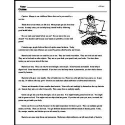 Print <i>Germs</i> reading comprehension.