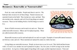 Print <i>Resources- Renewable or Nonrenewable?</i> reading comprehension.