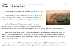 Print <i>Resources from the Land</i> reading comprehension.