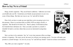 Print <i>How to Say No to a Friend</i> reading comprehension.