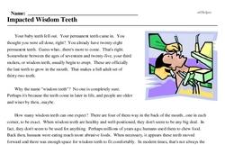 Print <i>Impacted Wisdom Teeth</i> reading comprehension.