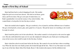Print <i>Katie's First Day of School</i> reading comprehension.