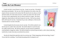 Print <i>Lonnie the Late Bloomer</i> reading comprehension.